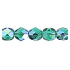 Fire Polished 6mm Transparent Emerald Aurora Borealis